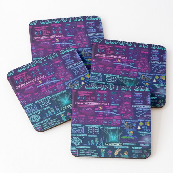 Map of Computer Science Coasters (Set of 4)