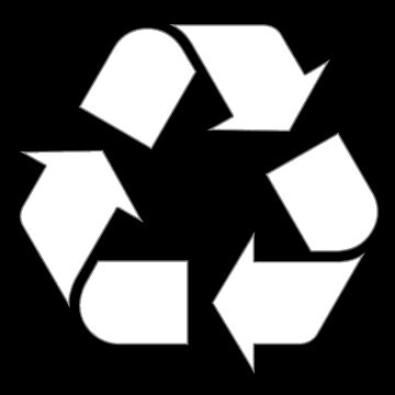 RECYCLING, WHITE ON BLACK, converting waste materials into new materials by TOMSREDBUBBLE