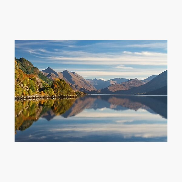 Five Sisters in Autumn  and Loch Duich Inverinate Scotland. Photographic Print
