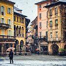 Italian square and snow by Silvia Ganora