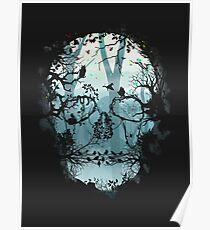 Dark Forest Skull Poster