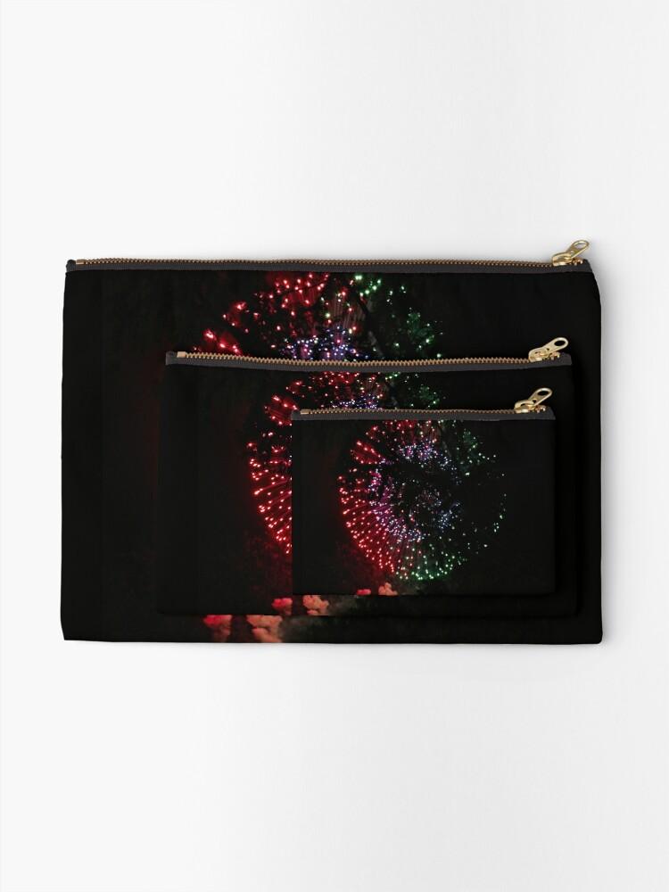 Alternate view of Fire Flower Fireworks Zipper Pouch