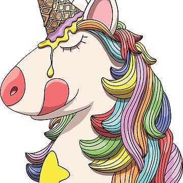 Unicorn portrait with rainbow hair and ice cream cone horn by illumylov