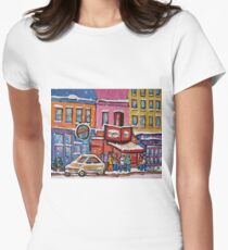 MONTREAL SNOWY DAY AT SCHWARTZ'S DELI CANADIAN ART BY CANADIAN ARTIST CAROLE SPANDAU Womens Fitted T-Shirt