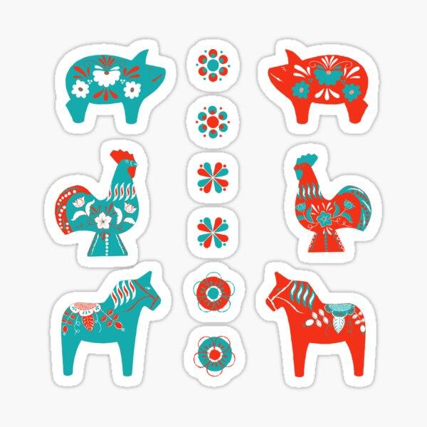 Folk Art - Swedish Dala Animal Farm Pattern - Red Turq Sticker