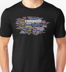 Computer Science Design - Word Cloud of Key Terms Colored Unisex T-Shirt