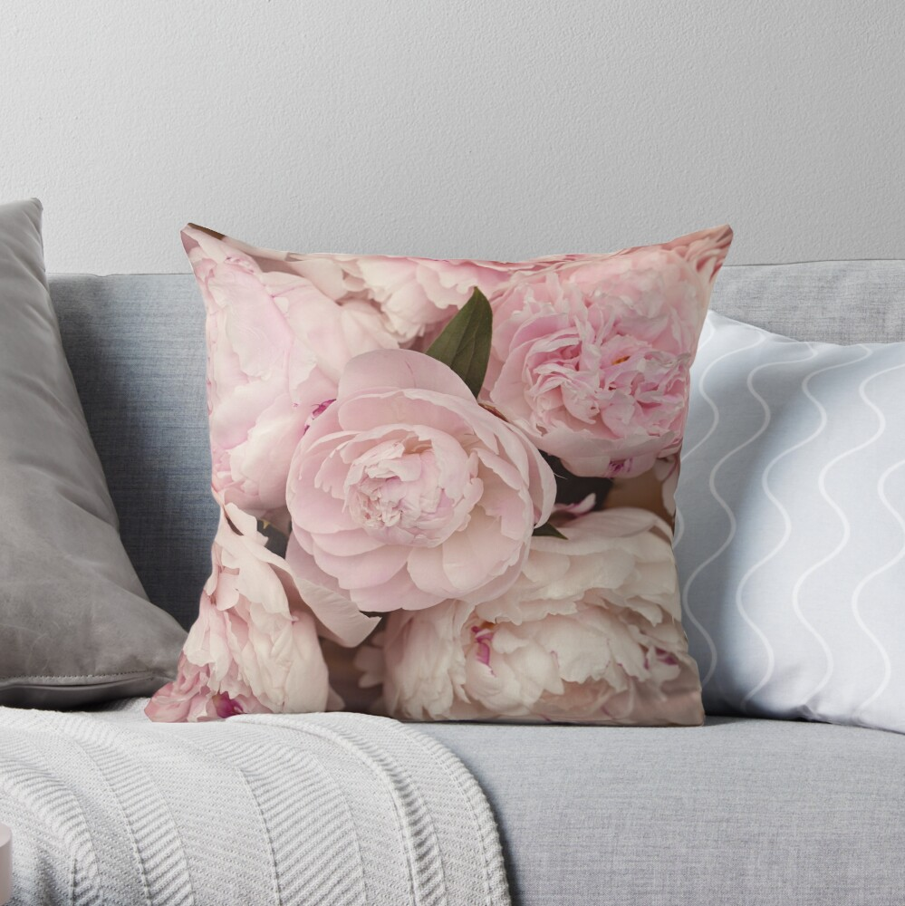 Pink Peony Flowers Throw Pillow