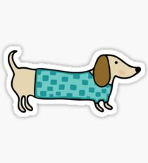 Cute dachshund in mint blue Sticker