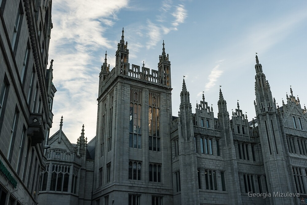 Silver City Architecture - the Magnificent Marischal College at Sunrise by Georgia Mizuleva