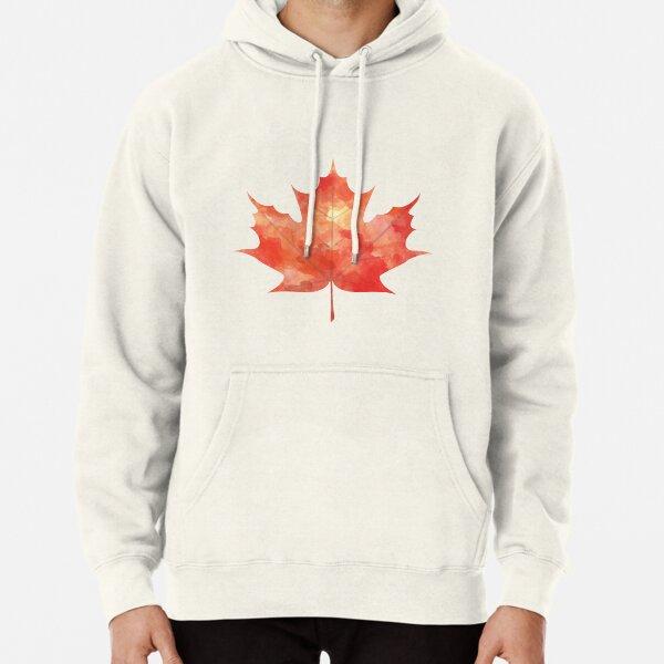 Watercolor Maple Leaf Pullover Hoodie