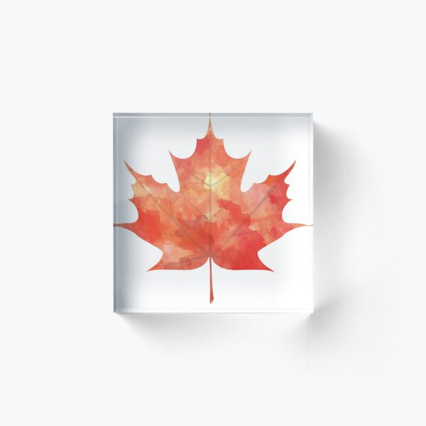 Watercolor Maple Leaf Acrylic Block