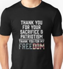 Thank You For Your Sacrifice And Patriotism Veterans  T-Shirt
