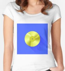 Gold Disc Icon Isolated on Blue Background. Long Shadow Women's Fitted Scoop T-Shirt