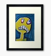 Troy - Graphic Yellow Face With Blue Background Framed Print