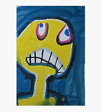 Troy - Graphic Yellow Face With Blue Background Photographic Print