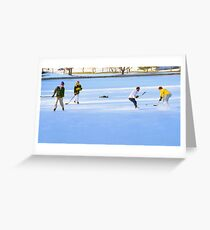 Teens Playing Ice Hockey Greeting Card