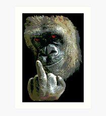 Gorilla Finger FU Art Print