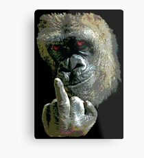 Gorilla Finger FU Metal Print