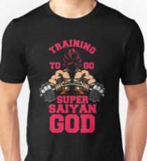 training to go super saiyan god gym workout fit power energy T-Shirt
