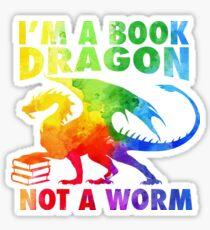 Pegatina Soy un dragón del libro en Rainbow Acrylic Colour Splatter