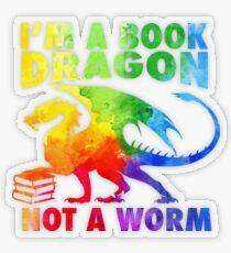 Pegatina transparente Soy un dragón del libro en Rainbow Acrylic Colour Splatter