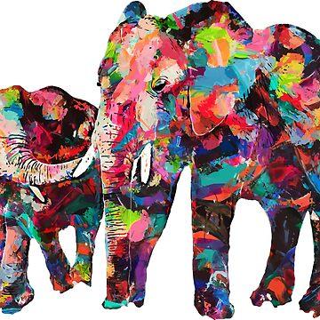 Colorful Elephants by MarkelArt
