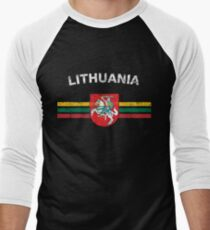 Lithuanian Flag Shirt - Lithuanian Emblem & Lithuania Flag Shirt Men's Baseball ¾ T-Shirt
