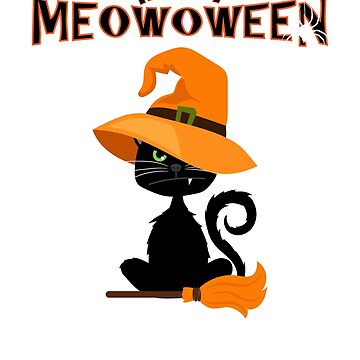 Happy Meowoween Halloween Witch Cat by RougarGifts