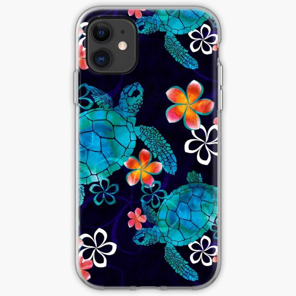 Sea Turtle with Flowers iPhone Soft Case