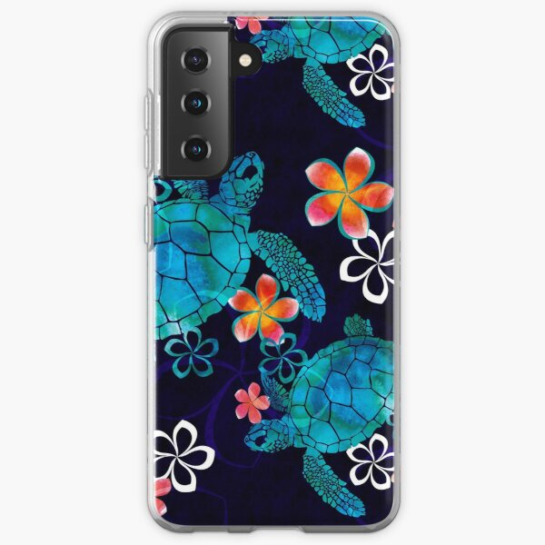 Sea Turtle with Flowers Samsung Galaxy Soft Case