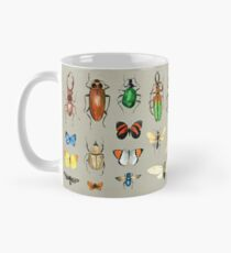 The Usual Suspects - Insects on grey - watercolour bugs pattern by Cecca Designs Mug