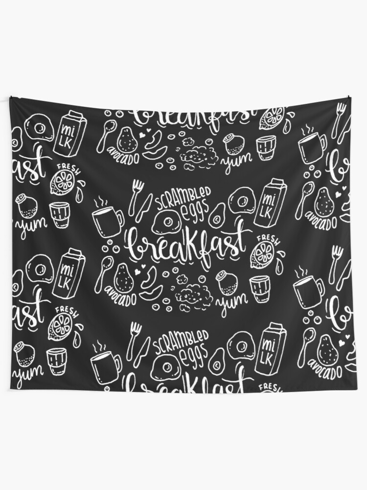 Alternate view of Breakfast - illustrated food pattern Tapestry