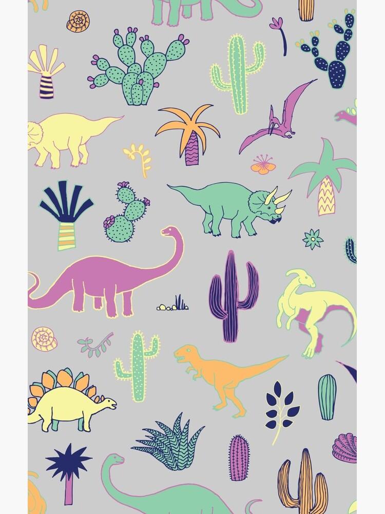 Dinosaurier-Wüste - Pfirsich, Minze und Marine - Spaßmuster durch Cecca Designs von Cecca-Designs