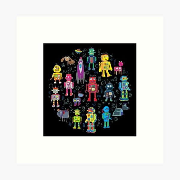 Robots in Space - black - fun pattern by Cecca Designs Art Print