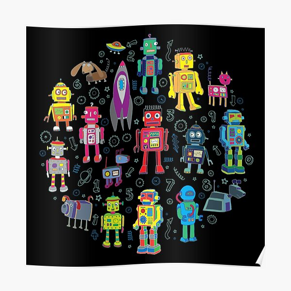 Robots in Space - black - fun pattern by Cecca Designs Poster