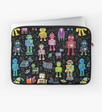 Robots in Space - black Laptop Sleeve