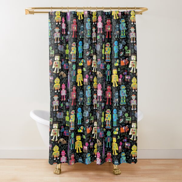 Robots in Space - black - fun pattern by Cecca Designs Shower Curtain