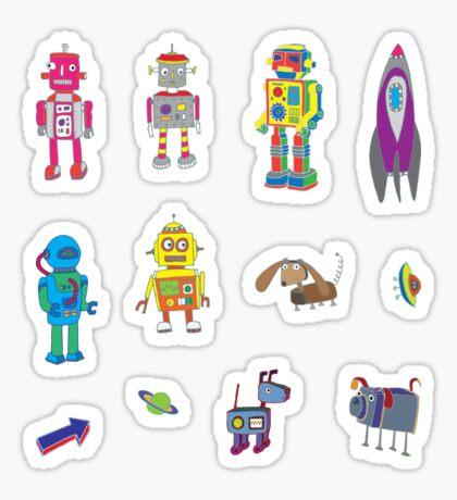 Robots in Space - black - fun pattern by Cecca Designs Sticker