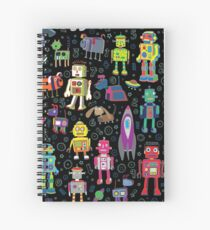 Robots in Space - black - fun pattern by Cecca Designs Spiral Notebook