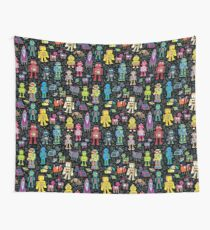 Robots in Space - black - fun pattern by Cecca Designs Wall Tapestry