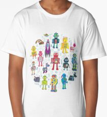 Robots in Space - black Long T-Shirt