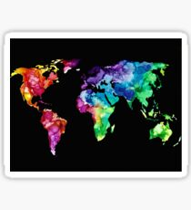 Rainbow Water Color World Map Sticker