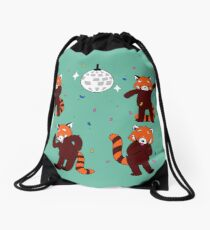 Red Pandamonium Drawstring Bag