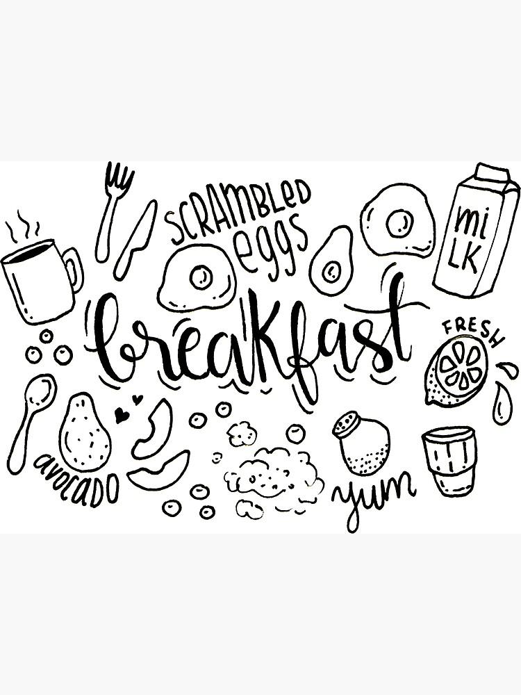 Breakfast - illustrated food pattern black by mirunasfia