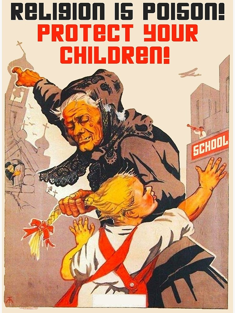 """""""Religion is poison! Protect your children!"""" Translated USSR 1930s Anti-religious propaganda Art by dru1138"""