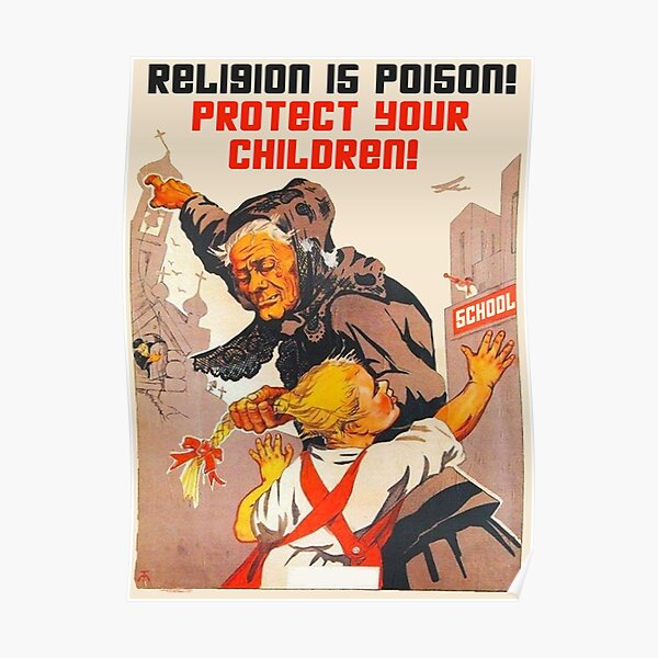 """""""Religion is poison! Protect your children!"""" Translated USSR 1930s Anti-religious propaganda Art Poster"""
