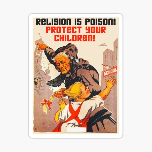 """""""Religion is poison! Protect your children!"""" Translated USSR 1930s Anti-religious propaganda Art Sticker"""