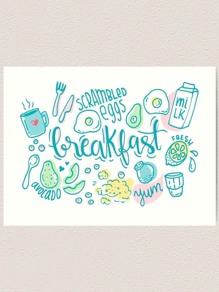 Alternate view of Breakfast - Colorful illustrated food pattern Art Print