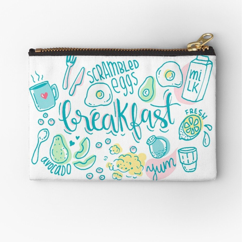 Breakfast - Colorful illustrated food pattern Zipper Pouch