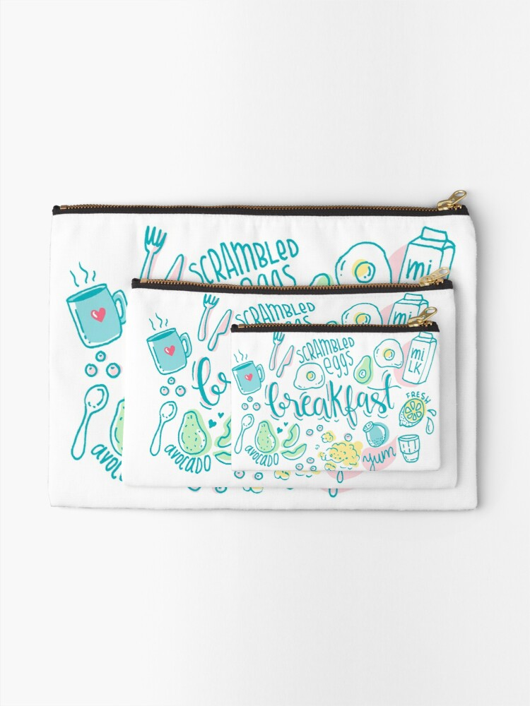 Alternate view of Breakfast - Colorful illustrated food pattern Zipper Pouch